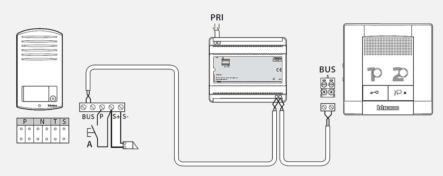schéma de principe portier audio