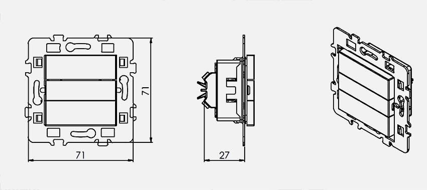 dimensions de l'interrupteur de volet roulant 61823