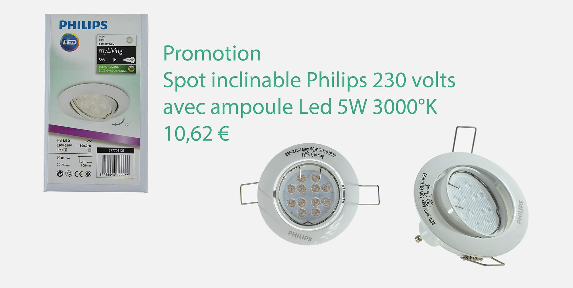 Spot Philips inclinable 5W 3000°K